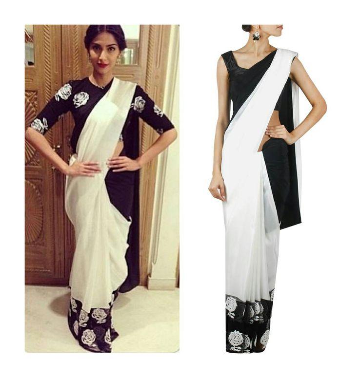 Black and white rose printed sari by Masaba Gupta
