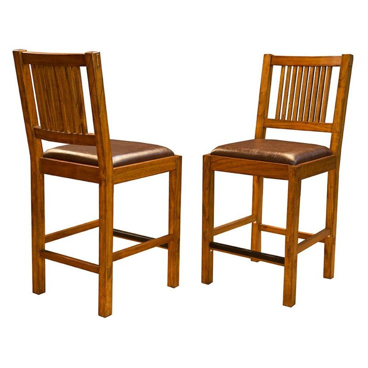 A-America Mission Hill Slat Back Counter Stool - Set of 2 - AAME480