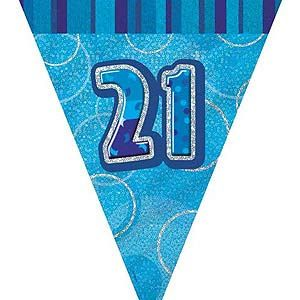 M55303 - Pennant - Happy 21st Birthday Pennant Happy 21st Birthday Glitz Blue 2.6m flag banner. Please note: approx. 14 day delivery