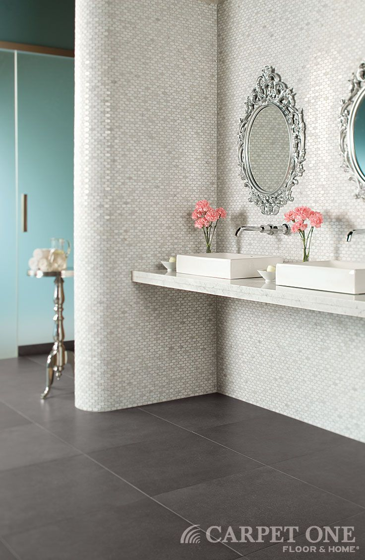 Large scale gray tiles are sleek and modern.   Daltile available at Carpet One Floor & Home