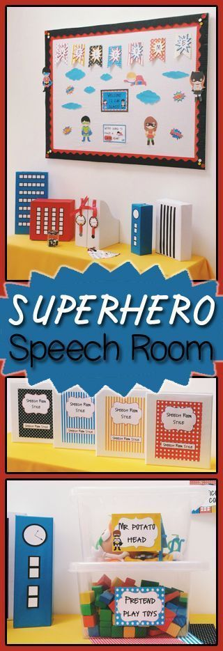 Editable Superhero Theme Decor Packet - This 100+ page resource is great for the speech therapy room at back to school time. You get a huge decor packet that includes bulletin board letters, door signs, calendar, rules poster, labels, papers, passes, pennants, binder covers and spines, clip behavior chart, and more. You're going to love decorating your elementary space with this amazing resource! {back to school, B2S, BTS, SLP}