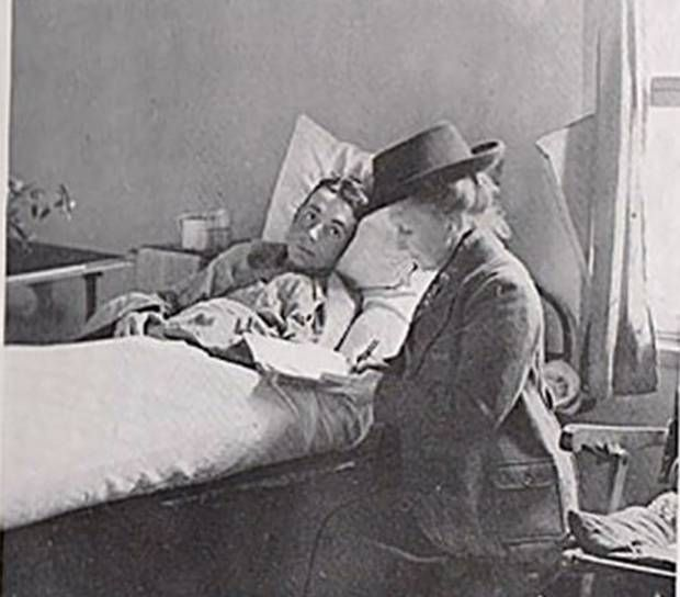 The soldier and the letter-writer - a lady with a notepad who gave comfort to the dying