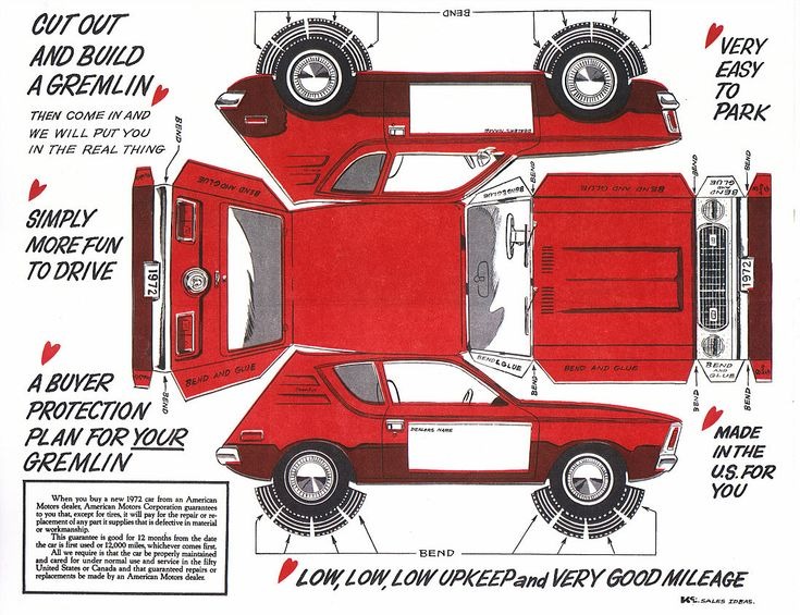 Cut out and build a Gremlin. AMC Gremlin papercraft, 1972. | AMC Forever | Pinterest | Amc gremlin, Cars and Gremlins