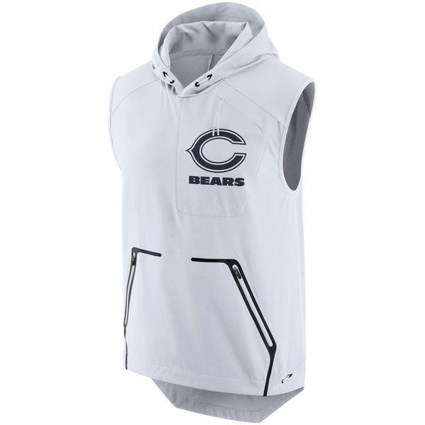 Men's Chicago Bears Nike White Color Rush Alpha Fly Hooded Performance Vest