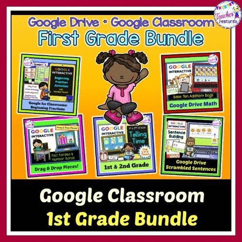 This Google Classroom First grade Math & Literacy Bundle is an interactive and engaging way for your students to practice math skills & sentence building, while saving you prep time, paper and money! Movable pieces and interactive text boxes make learning First Grade curriculum extra fun.
