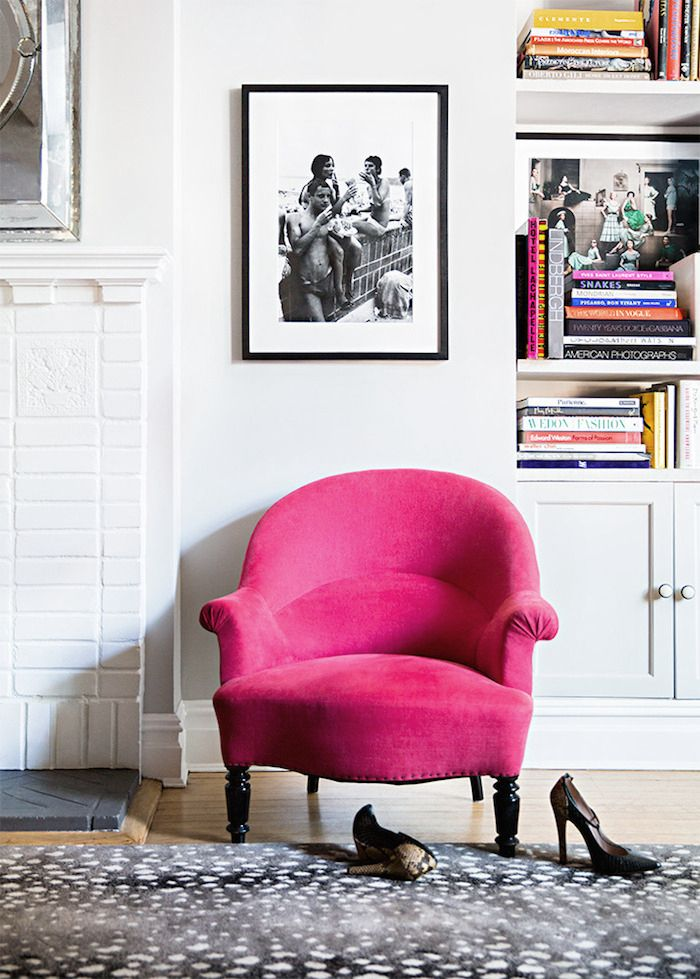 vignette with pink chair