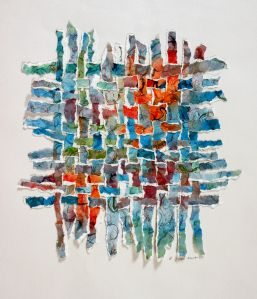 Sundown in August, North Truro: Becky Kisabeth Gibbs watercolor paintings torn into strips and woven.