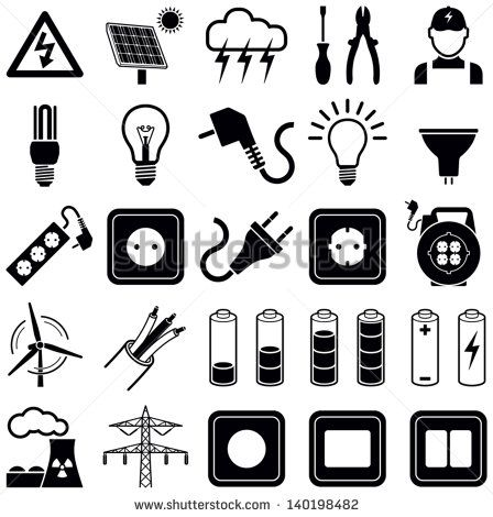 Electricity icon collection - vector silhouette illustration - stock vector