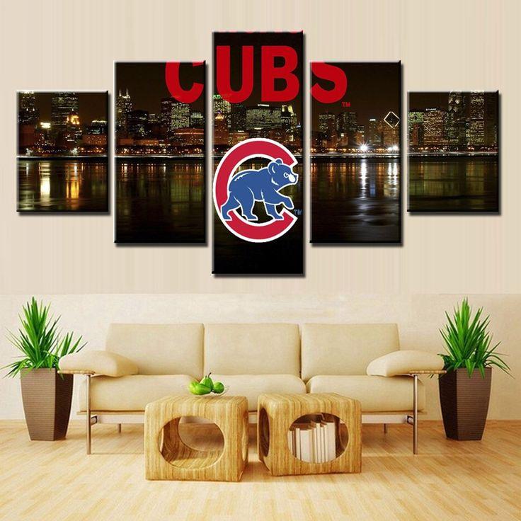 5 Piece Chicago CUBS Bear Baseball Sport Team Logo Wall