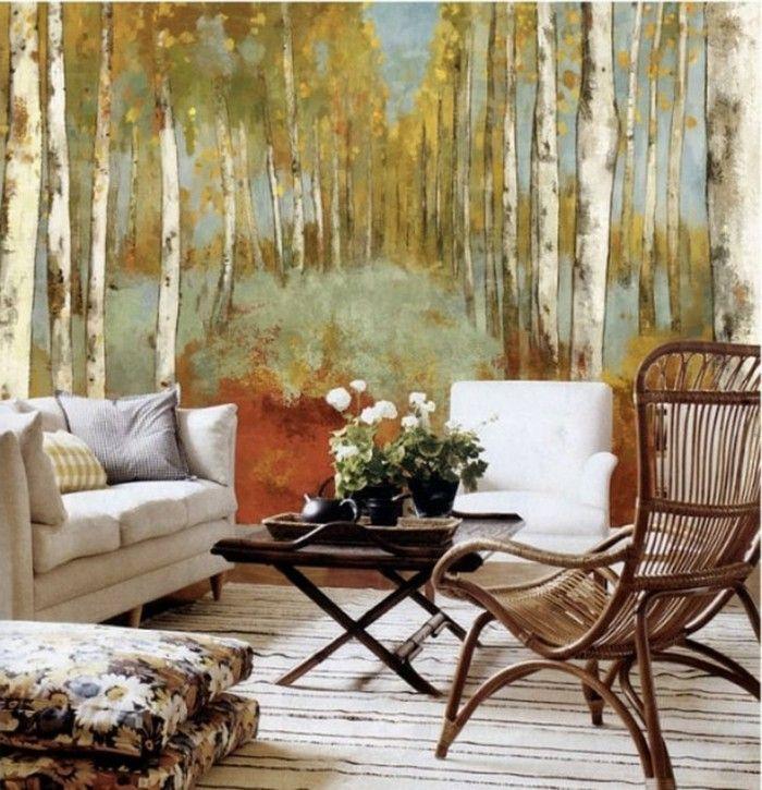 Dekoideen Wohnzimmer Herbst Wald Bodenkissen Streifenteppich