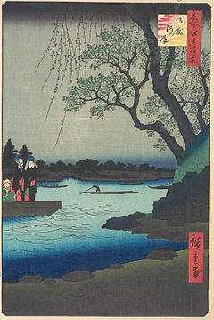 One Hundred Famous Views of Edo is a series of ukiyo-e prints begun and largely completed by the Japanese artist Hiroshige . The prints were first published in serialized form in 1856–59, with Hiroshige II completing the series after Hiroshige's death. It was tremendously popular and much reprinted.