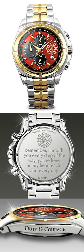 "Hand-Crafted Stainless Steel Firefighter Chronograph Men's Watch (with a silver and gold-tone finish, a Maltese cross, a date window and three sub-dials, a Maltese cross, a ""For My Firefighter"" poem engraved on the reverse side and ""Duty & Courage"" is engraved on the side)  