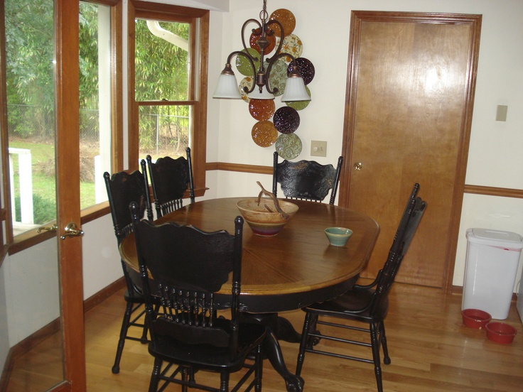 Refinished this oak dining room set. Dining table redo