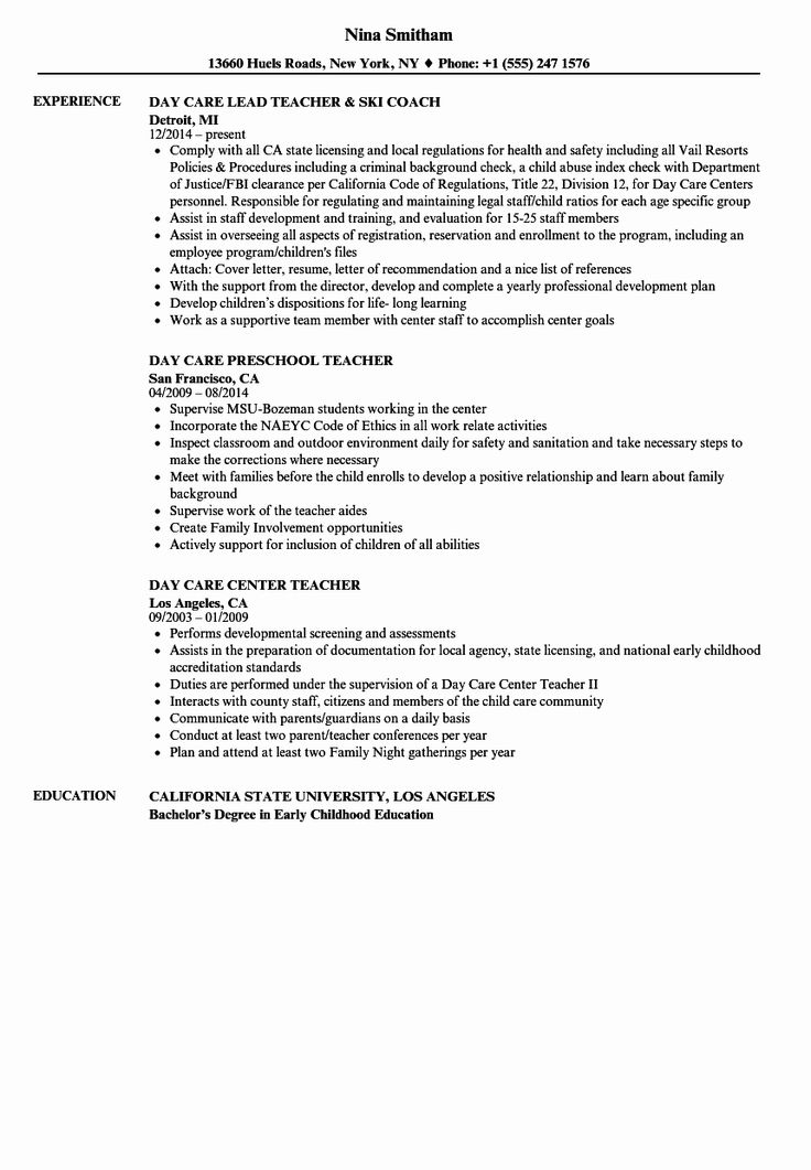 20 Daycare Teacher assistant Resume in 2020 Teacher