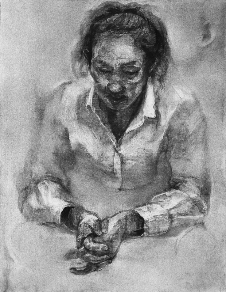 2014/charcoal drawing/monochrome/figure/woman
