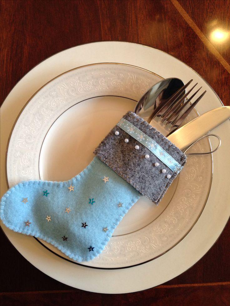 Christmas craft- felt cutlery holder