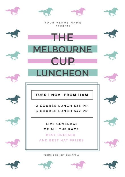 The Melbourne Cup Luncheon Template with pastel colored horse image frame #template #DIYdesign #melbournecup