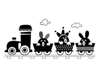 Vinilos decorativos tren infantil con conejos. ADUO