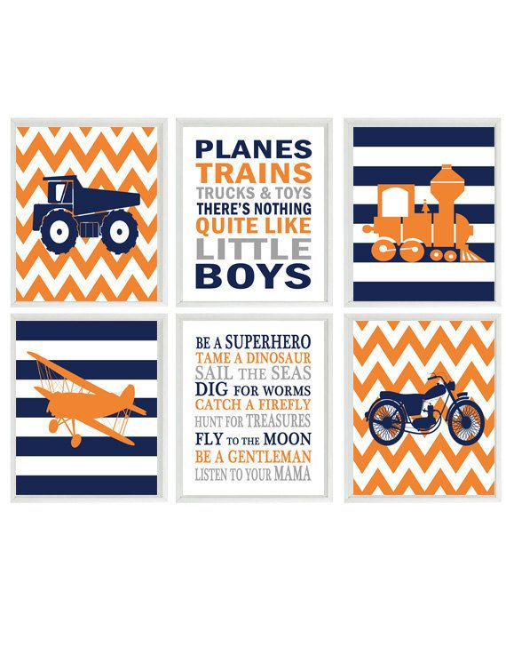 Transportation Nursery, Vehicle Art,  Baby Boy Nursery, Planes Trains Trucks and Toys, Boy Rules, Boy Room Decor, Orange, Navy Blue, Gray