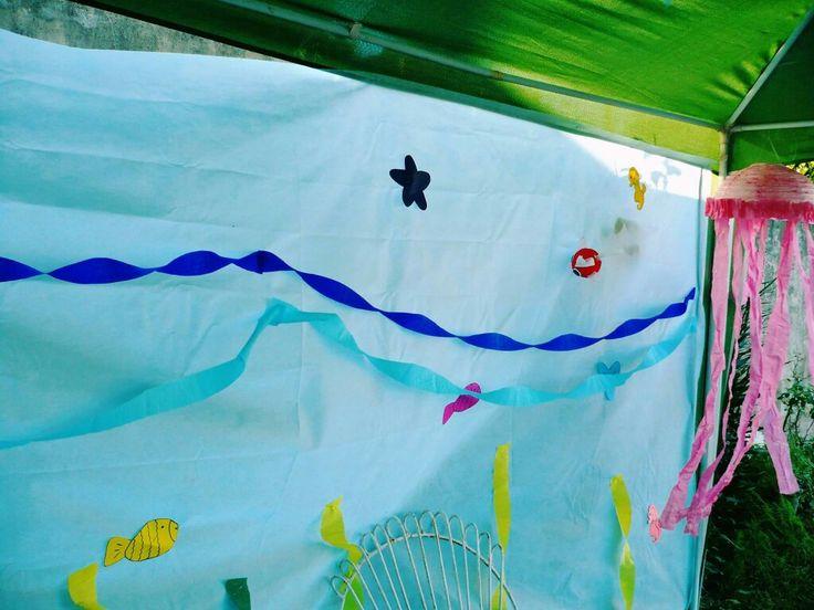 Back drop del mar. Fiesta hawaiana. Party Hawaii. Luau para niños