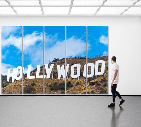 Hollywood Wall Art Hollywood Sign Canvas Print Los Angeles Etsy