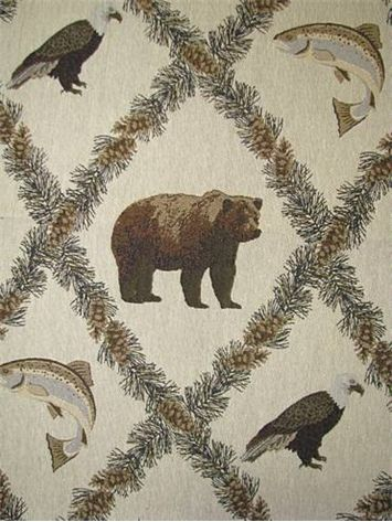 """Addison Sand -  Outdoor theme tapestry upholstery fabric. Durable 55% poly - 45% cotton. Great for upholstery, bench covers, bar stools, pillow fabric. RR Repeat; H 28.5"""" V 21.5"""". 57"""" wide"""