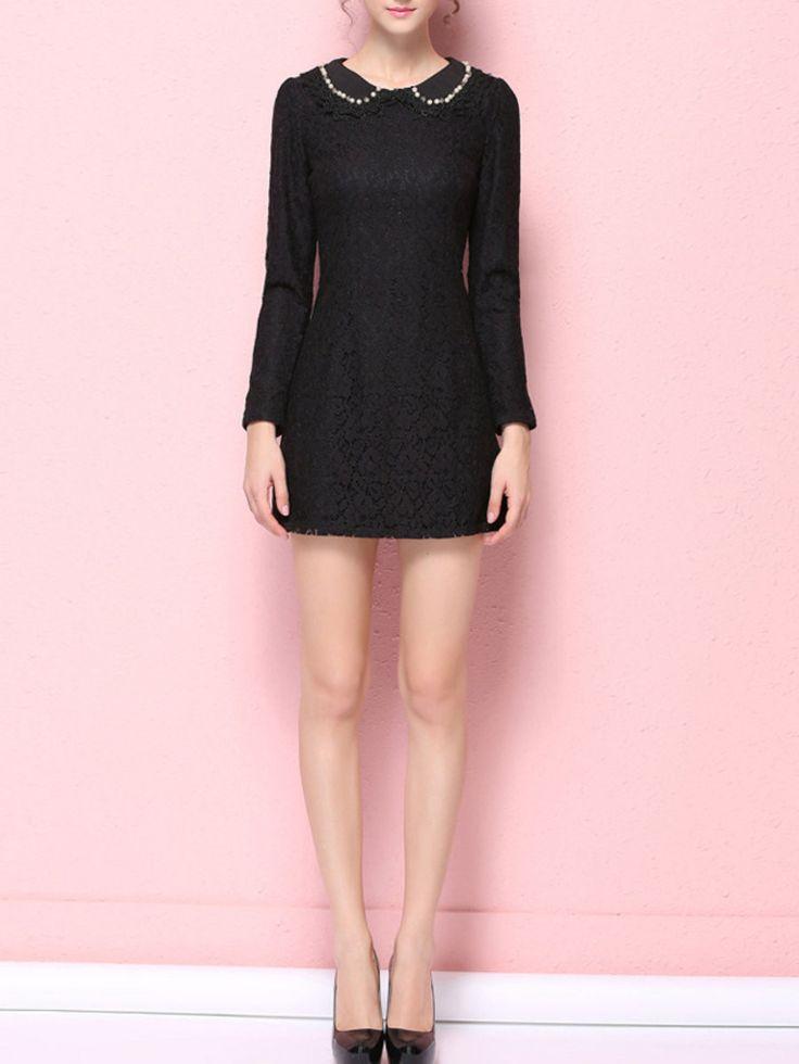 Black Long Sleeve Peter Pan Collar Sheath Mini Dress