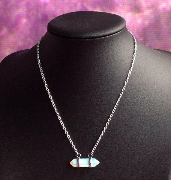 Opalite kristal punt ketting dubbele beëindigd edelsteen