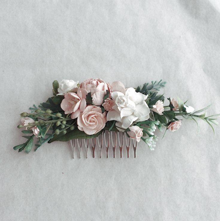 Excited to share the latest addition to my #etsy shop: blush and greenery wedding hair piece, blush flower hair clip, blush hair accessories, floral hair vine, bridal headpiece, floral comb, flor