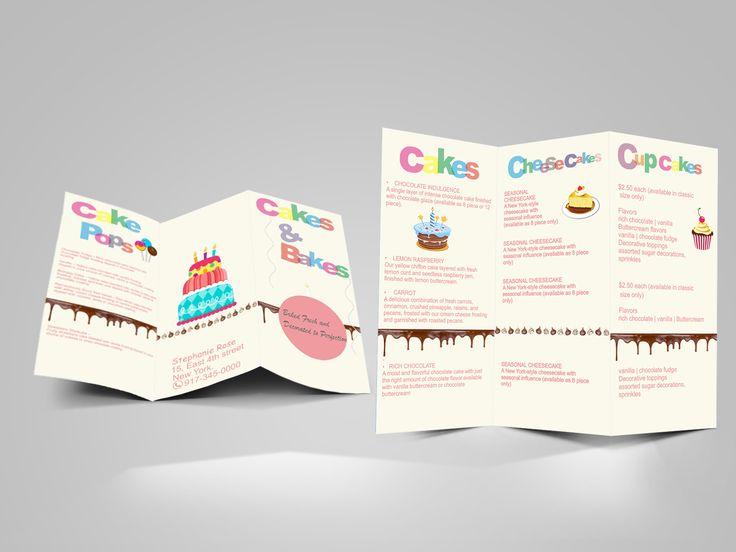 Tri Fold Brochure ~ Designed for Cakes n Bakes store.