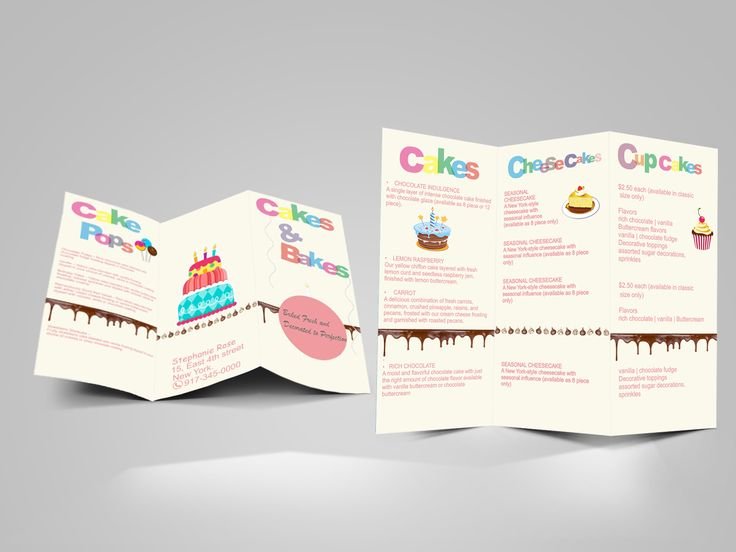 Tri Fold Brochure ~ Designed for Cakes n Bakes store.