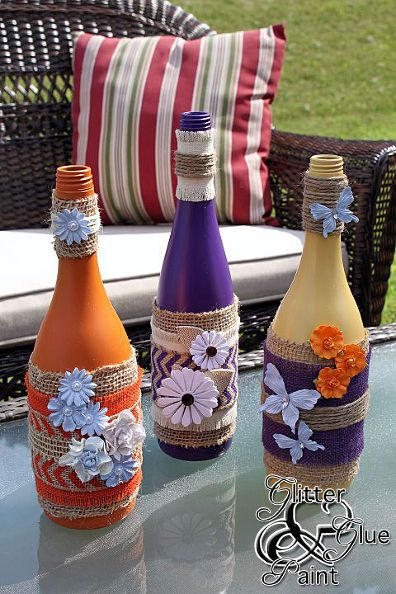 tiki wine bottles, crafts, home decor, repurposing upcycling, Add a pop of color like I did with the purple to create some pop to your space