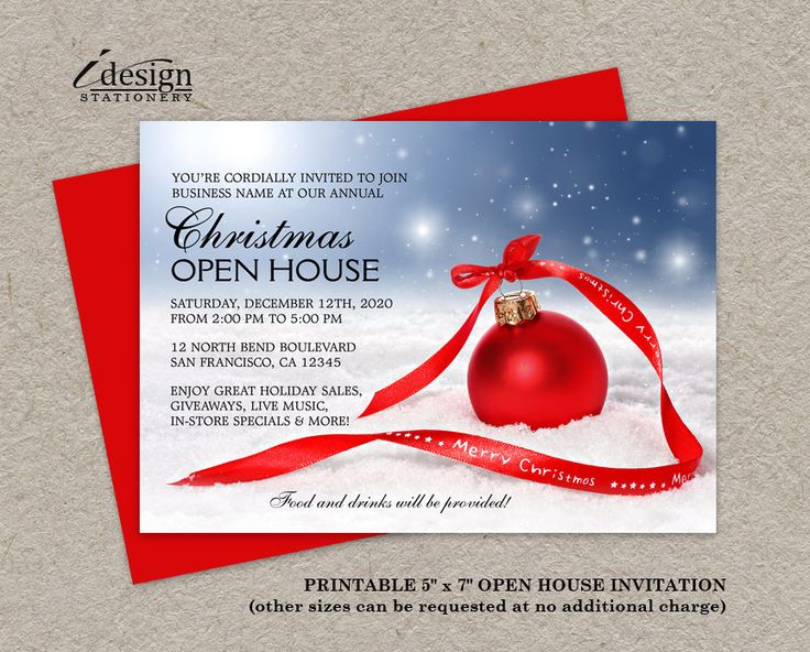 Festive Business Holiday Open House Invitation