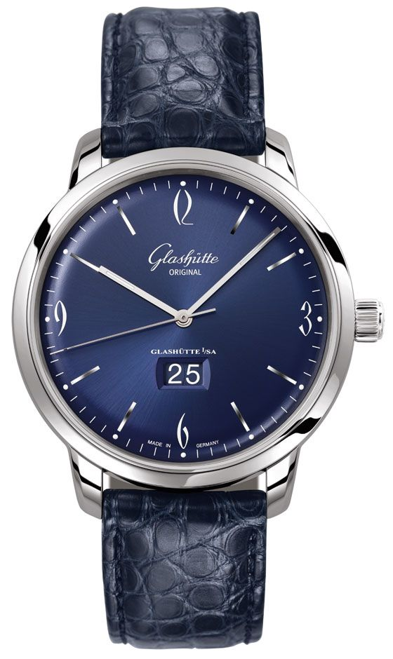 The other German watch on our list, Glashütte Original's Sixties Panorama Date, comes in a 42-mm stainless steel case, with a midnight blue dial with a sunburst finish and a dark blue Lousiana alligator leather strap.