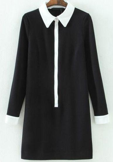 Black Contrast Lapel Long Sleeve Slim Dress - Sheinside.com Mobile Site