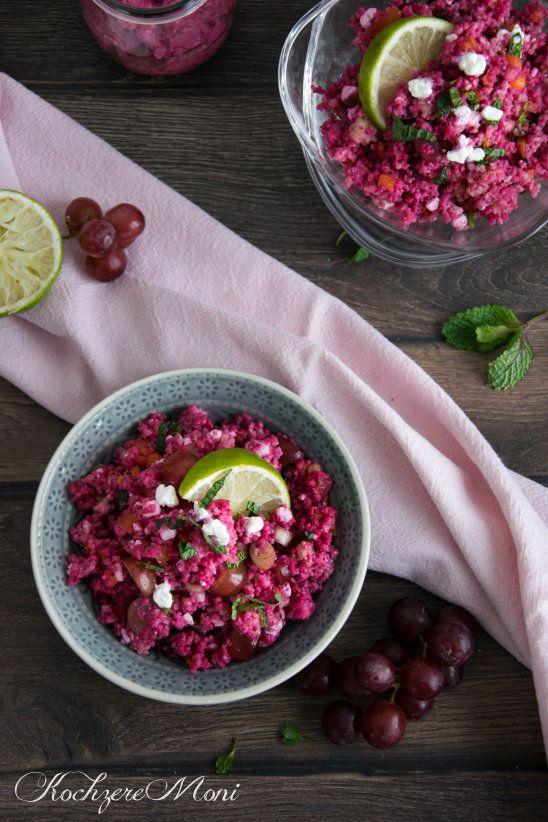 Couscous Salat mit Rote Bete, lila Trauben und körnigem Frischkäse