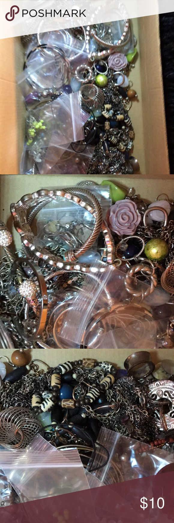Shoebox of Jewelry Shoebox of Jewelry. Most is tarnished or broken. Perfect for someone that makes jewelry to use the pieces. Jewelry