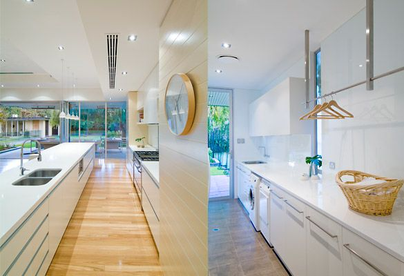 long counterspace, storage underneath ,sink, cupboards, and hanging rack - all white. Also like that glass door...this is perfect!