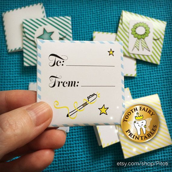 INSTANT! Tooth Fairy letters and envelopes set for boys, tiny tooth fairy notes, Instant download tooth fairy tiny notes and letters.