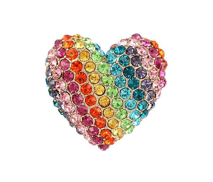 RAINBOW CONNECTION HEART RING: Betsey Johnson