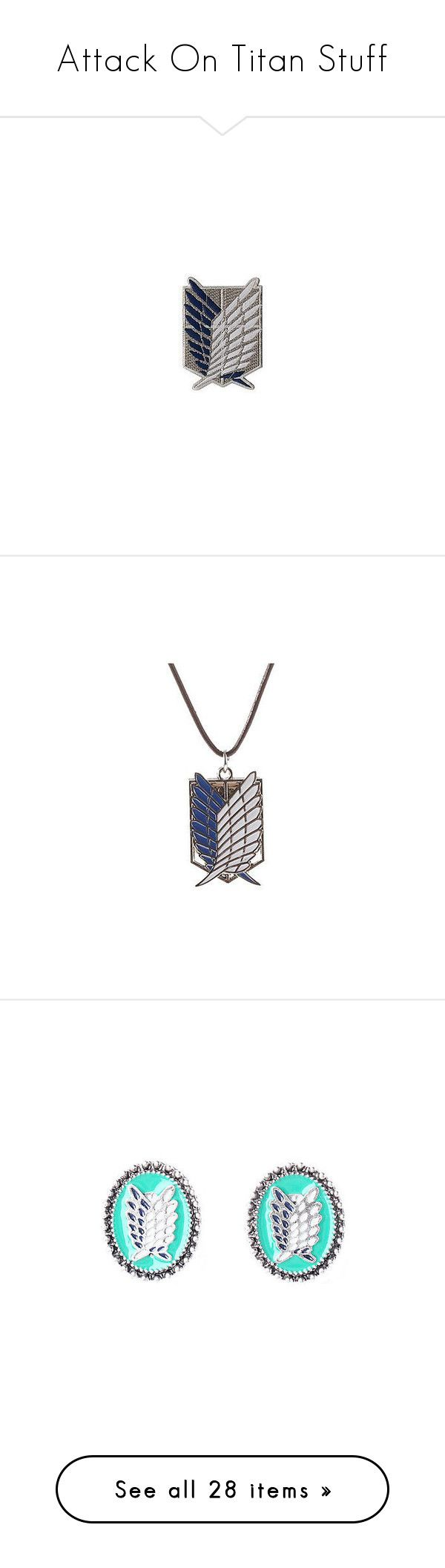 """""""Attack On Titan Stuff"""" by llamabeans ❤ liked on Polyvore featuring fillers, jewelry, necklaces, accessories, anime, aot, animal pendant necklace, wing necklace, animal jewelry and animal necklaces"""