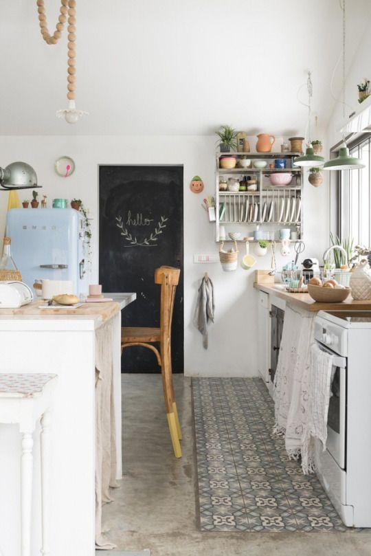 [chalkboard kitchen art and a vintage fridge ]