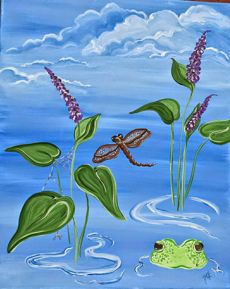 Dragonfly, Frogs and Spiders  ...Oh My! Paint Party painting.   Paint Party: www.cricketseye.com