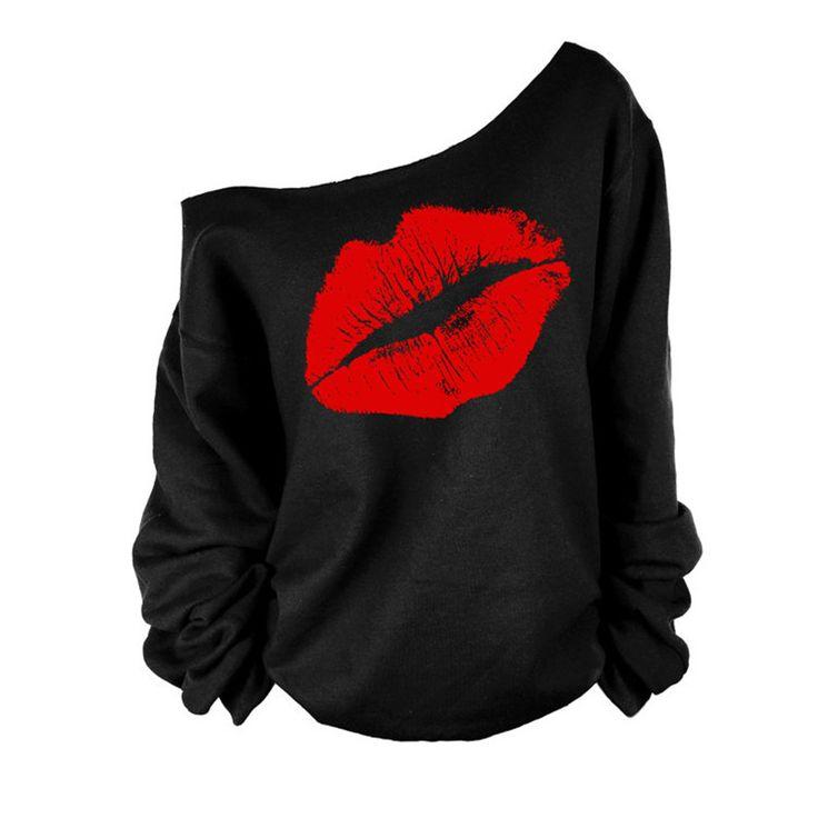 Las Mujeres atractivas Del Hombro sudadera con Labios Rojos 2016 de La Moda de Otoño de Manga Larga Negro de Kawaii Ropa sudaderas con capucha de las mujeres Más El Tamaño