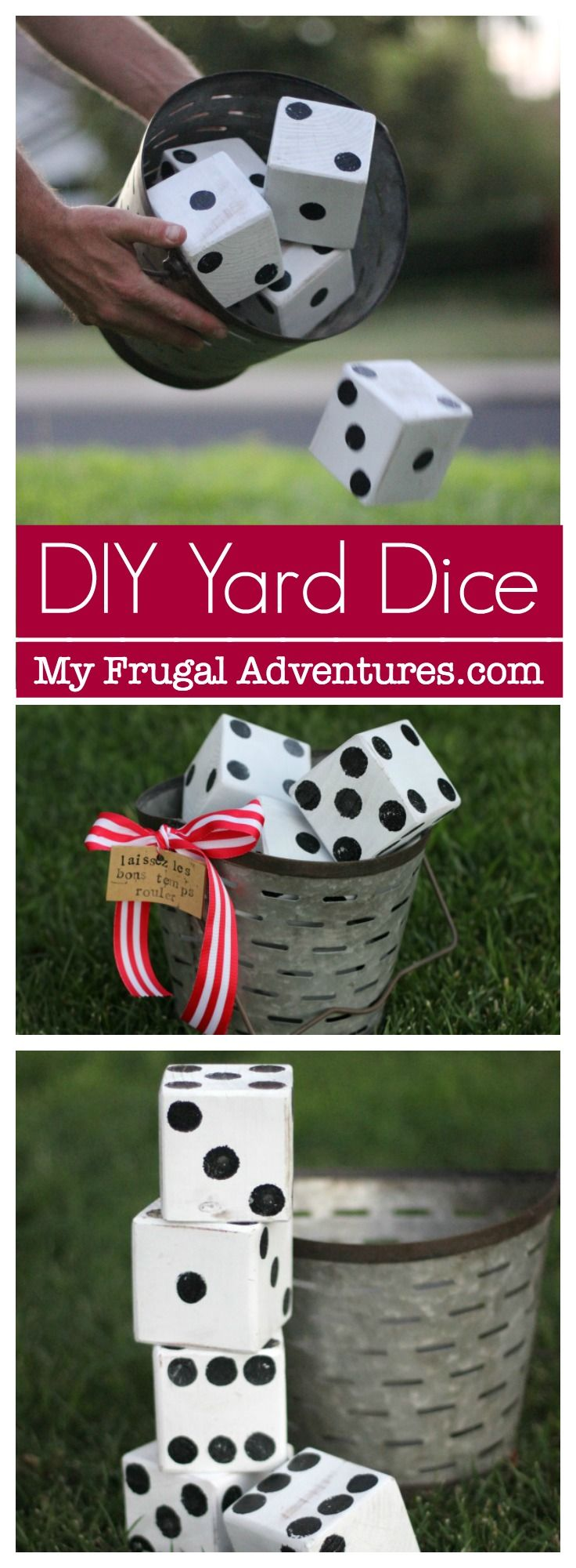 Super simple DIY lawn dice.  Such a fun activity for outdoor games or entertaining and parties. Perfect housewarming gift idea.  We love these for making math practice a bit more fun.