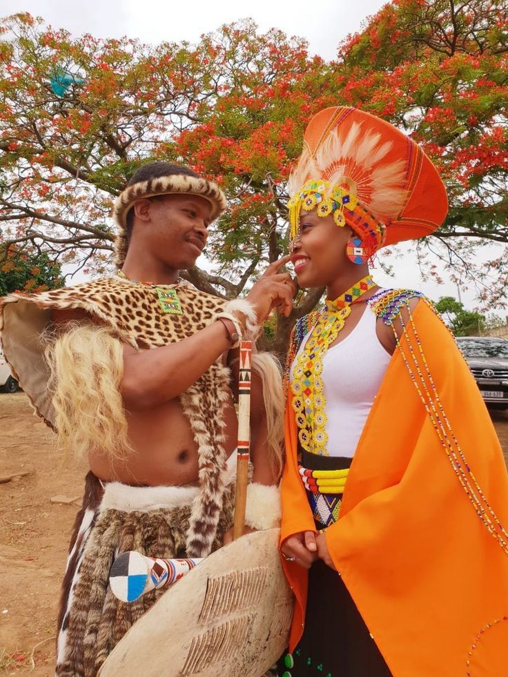 Zulu couple in african print inspired traditional wedding outfit clipkulture