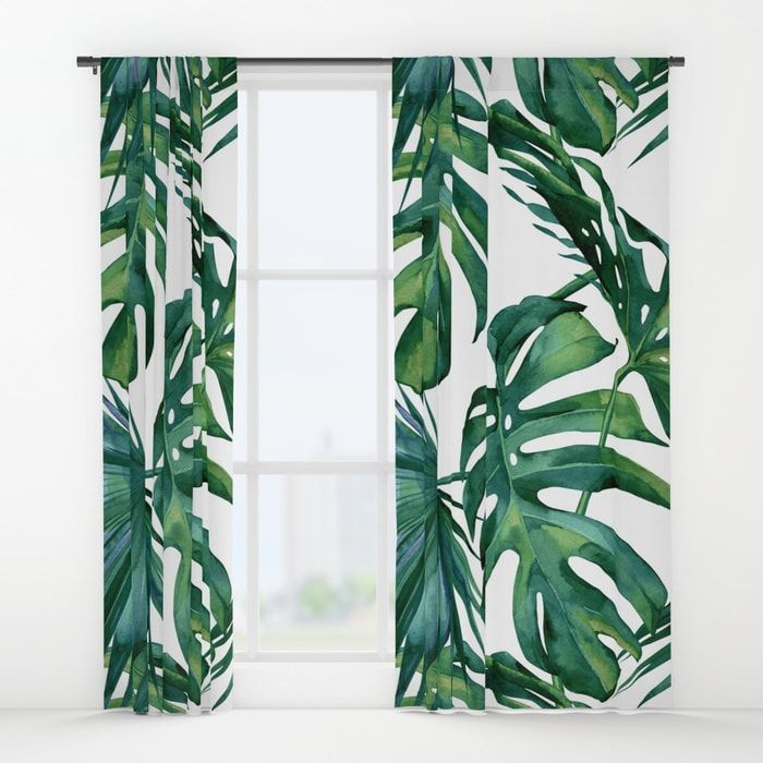 Classic Palm Leaves Tropical Jungle Green Window Curtains By