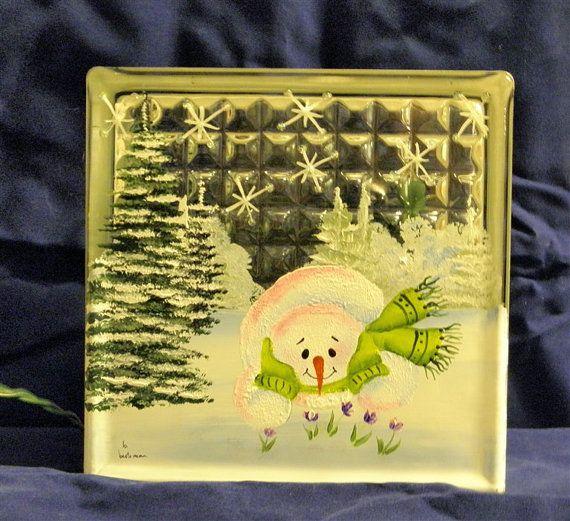 GLASS BLOCK LIGHT hand painted Snowman by bestemancreations,