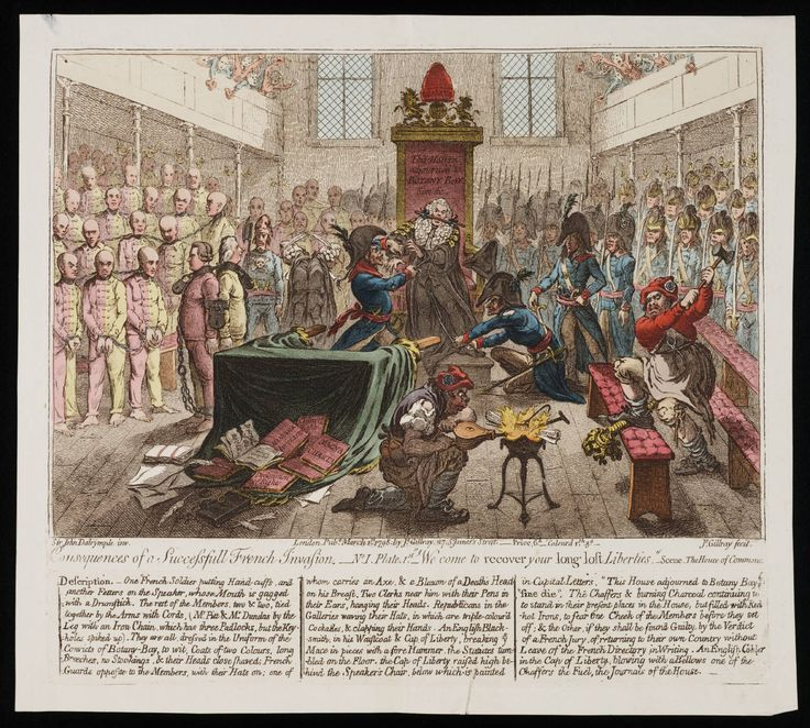 """Consequences of a successfull French invasion ;""""We come to recover your long lost liberties"""" : scene, the House of Commons, Gillray. 1798"""