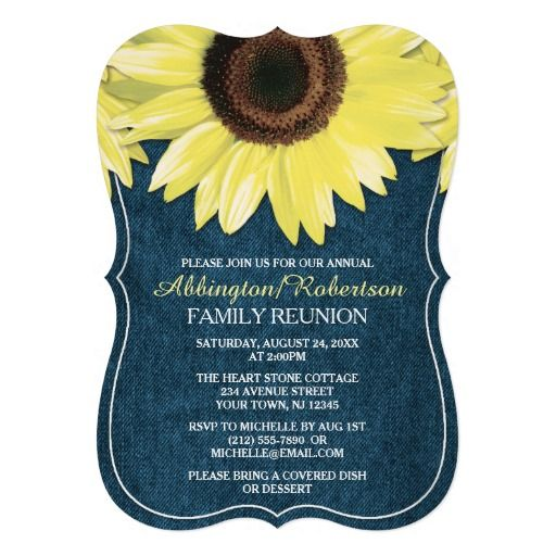 rustic sunflower denim family reunion invitations family